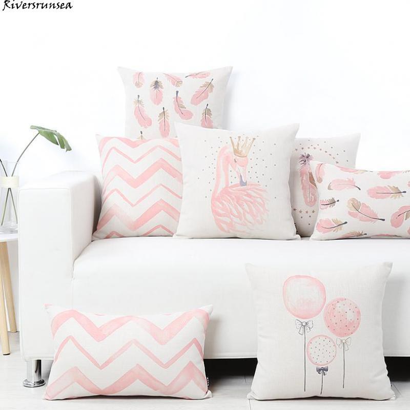 Nordic Style Flamingo Pillow Goose Feathers Balloons Wave Geometric Cushion Headrest Pink Party Decorations Gift For Kids Girls