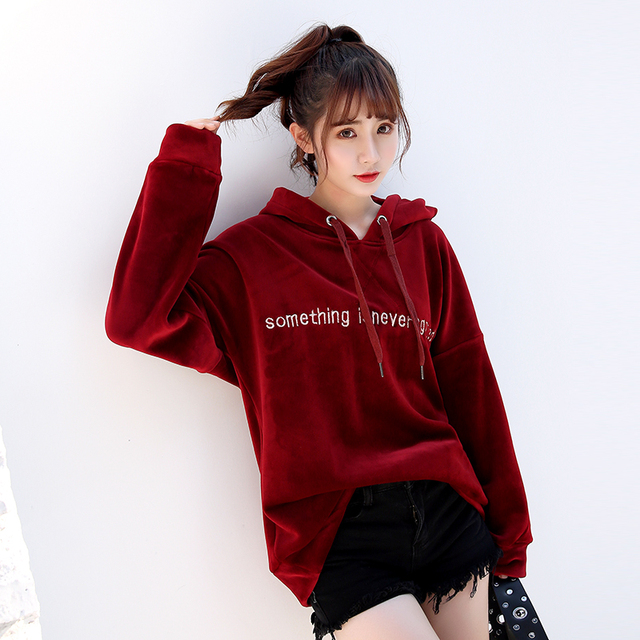 2018 New Autumn Winter Fashion Hooded Letter Velour Sweatshirts Vintage Embroidery Pullovers Coats Slim Thick Hoodies Coat Mw439