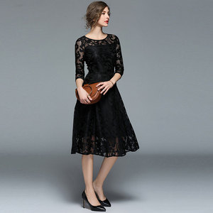 Image 5 - Borisovich 새로운 2018 봄 패션 영국 스타일 럭셔리 우아한 슬림 숙녀 파티 드레스 여성 캐주얼 레이스 드레스 Vestidos M107