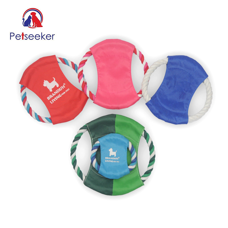 Outdoor Soft Eco-friendly Double Cotton Rope Material Pet Puppy Dog Toy Pet Chew Training Flying Disc Playing Toy