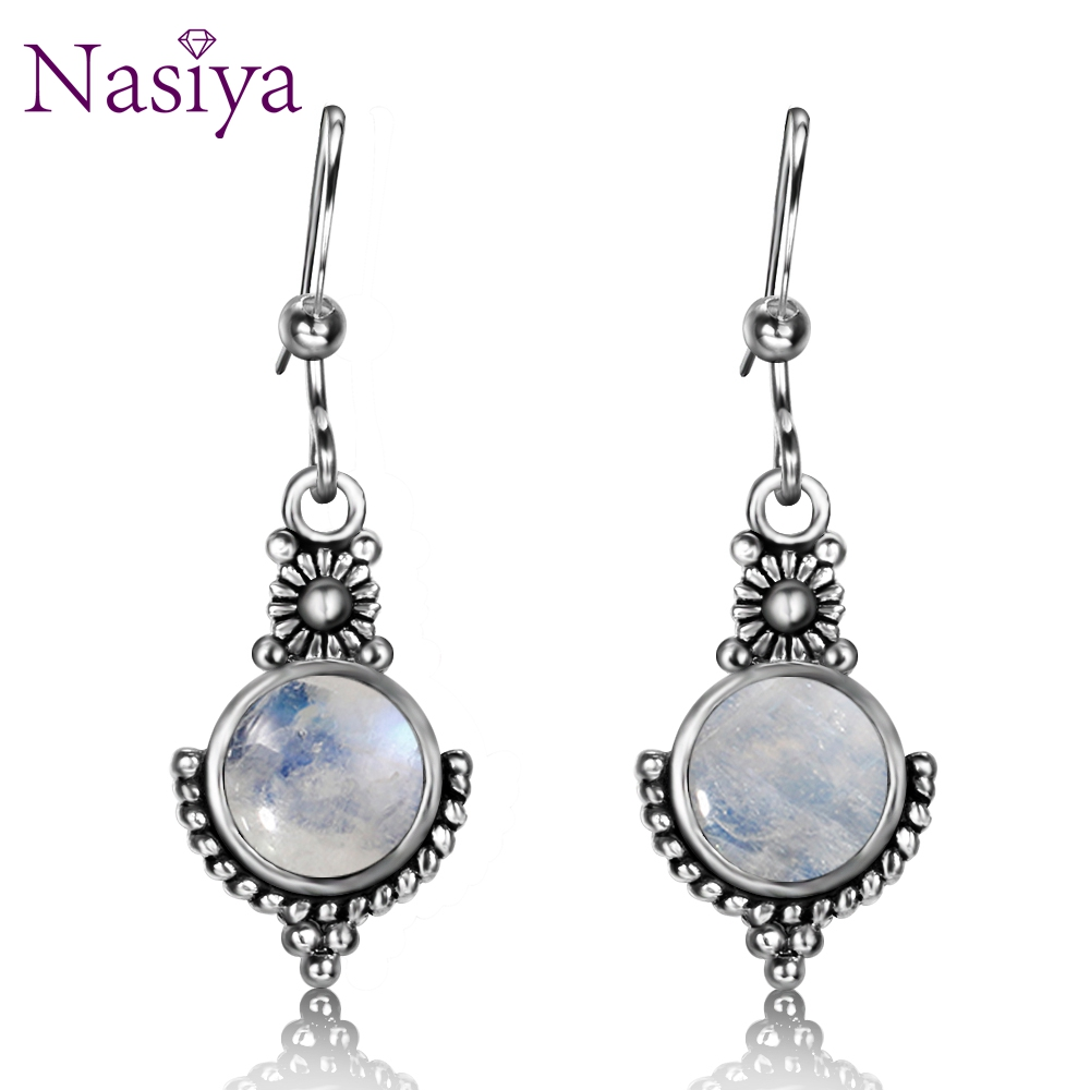 Bohemian Style Natural Moonstone Drop Earrings Women's 925 Sterling Jewelry Engagement Party Anniversary Daily Life Gift