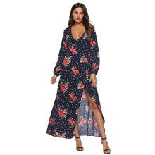 women long Chiffon flower dress holiday boho Dress Sexy Deep V Strap vintage flower printed Lantern Sleeve V-neck dresses plus flower applique lantern sleeve dress