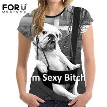 FORUDESIGNS Gray 3D Pug Animal Woman Tops T-shirt Summer Short Sleeved Casual Shirt For Women Slim Bodybuilding Feminine Clothes