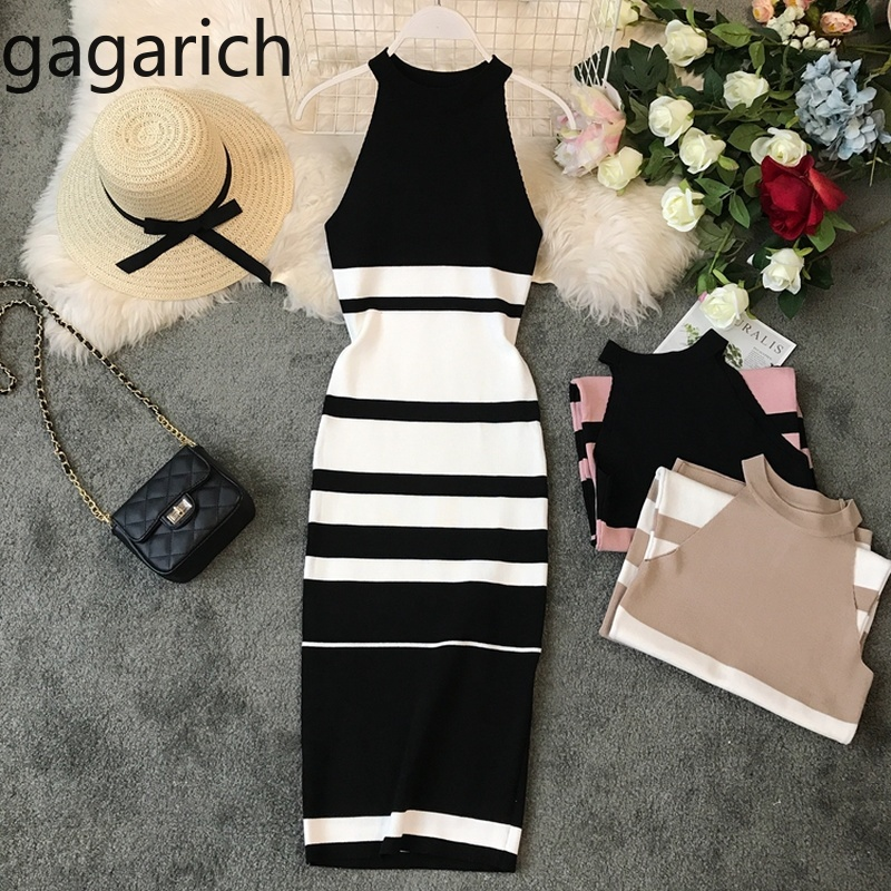 Gagarich Fashion Striped Stretch Women Dress Sleeveless Vintage Bodycon Dresses Knitted Elegant Vestido Summer 2019 Robe(China)