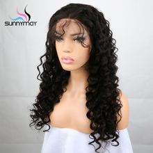 Sunnymay 130% Density Glueless Brazilian Remy Deep Wave Human Hair Lace Front Wigs With Bleached Knots