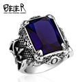 Dark Blue Big Stone Ring For Man Stainless Steel Man's Classic Claw Punk Jewelry BR8-164