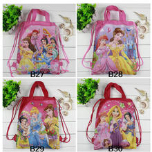 12Pcs Cartoon Three Princess Children School Bags Cartoon Drawstring Bag Shopping Bag Beach Birthday Party Bag(China)
