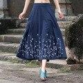 Moda feminina Novo Estilo de Rua Ocasional Sólida das Mulheres Bolsos de Cintura Alta Plissada Saia Azul de Linho de Algodão Bordado Do Vintage