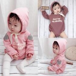2019 весенний комбинезон для маленьких девочек, детская хлопковая одежда с длинными рукавами, кружевной оборкой и капюшоном