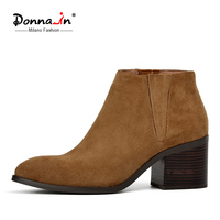 Donna In 2016 Spring Single Boots Pointed Toe Thick Heel Ankle Boots Ladies Short Boots