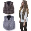 1PC 2016 New arrival Winter Veste Femme Women's Warm Faux Fur Sleeveless Vest Coat V-Collar Waistcoat Fur vestJacket Outwear