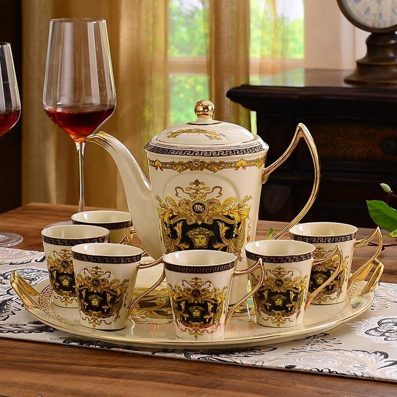 Позолоченные Кофейные Наборы чашек костяного фарфора/8 шт чайных чашек керамические. 1 чайник и 6 чашек - 5