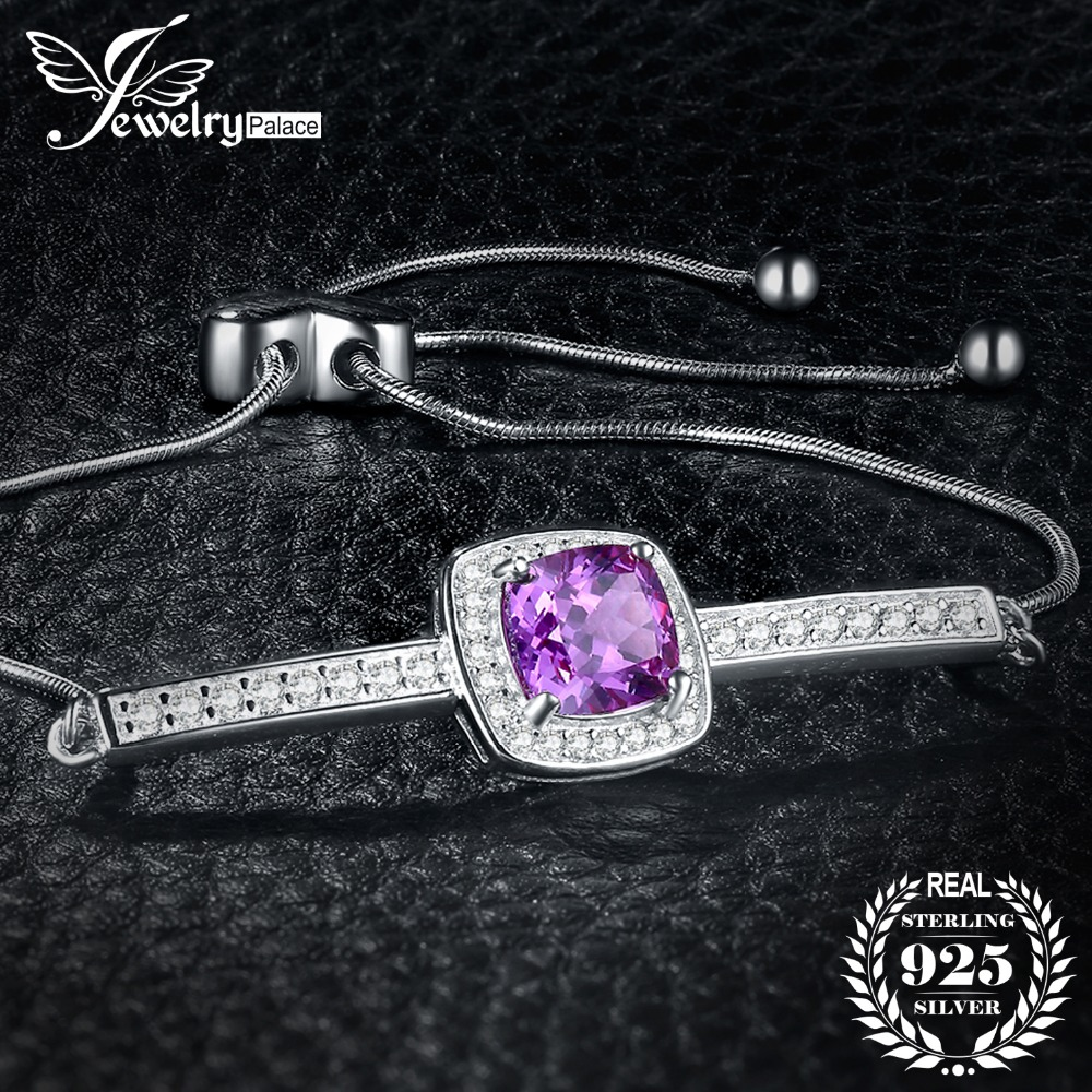 JewelryPalace Elegant 2.43ct Created Alexandrite Sapphire Cubic Zirconia Halo Adjustable Bracelets For Women 925 Sterling SilverJewelryPalace Elegant 2.43ct Created Alexandrite Sapphire Cubic Zirconia Halo Adjustable Bracelets For Women 925 Sterling Silver