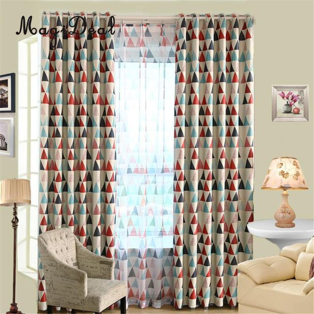 Geometric Triangle Pattern Sheer Window Curtain Tulle Voile Valances For Living Room Dinning Bedroom