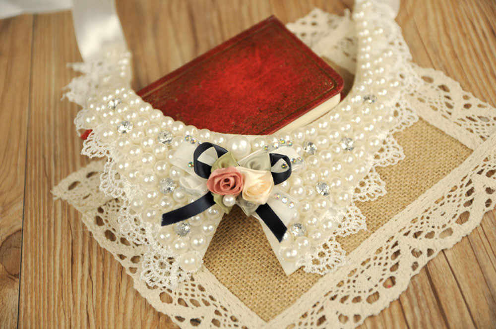 Mode perles fleur dentelle Bowknot Bandage petit chat chien chiot animaux colliers collier collier perro