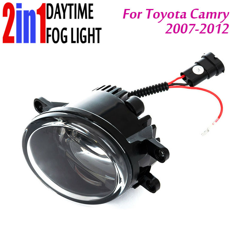 New Led Fog Light with DRL Daytime Running Light with Lens Fog Lamps Car Styling Led Lamps Refit Original Fog for Toyota Camry new led fog light with drl daytime running lights with lens fog lamps car styling led refit original fog for toyota venza