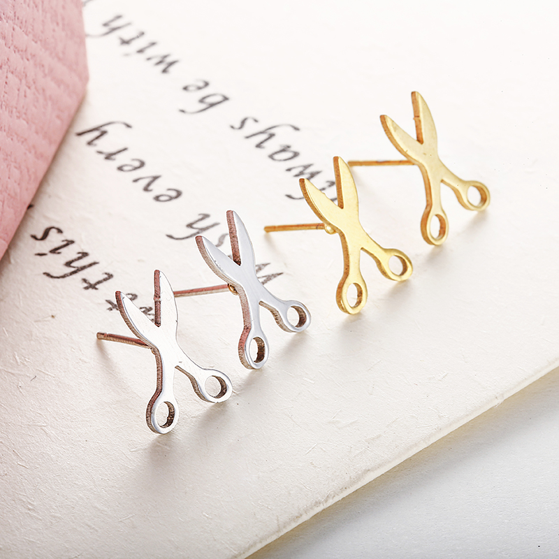 Simple Cute Scissors Tiny Earrings Personalized Statement Stud Earrings For Women Fancy Jewelry Wholesale Acessories E0109