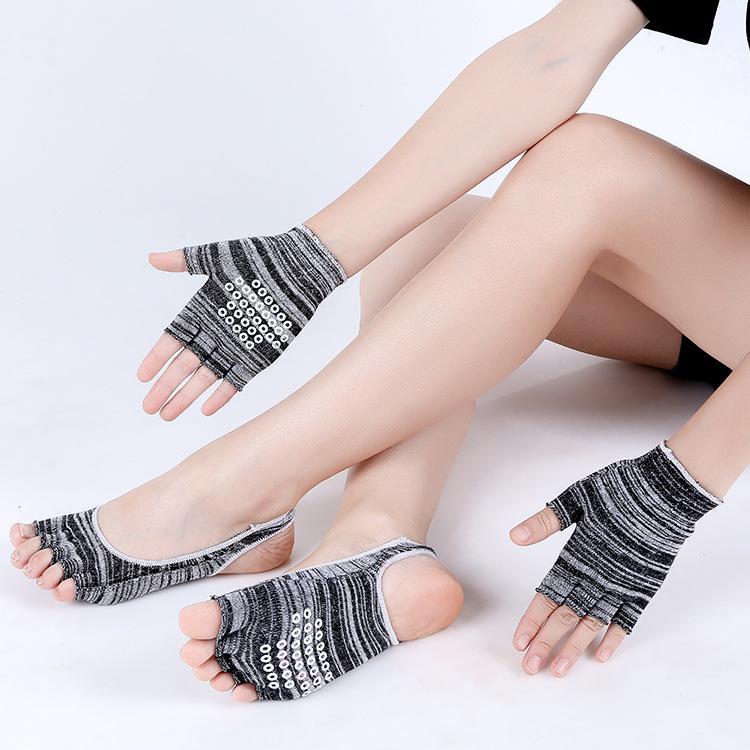 Mrwonder Ladies Yoga Socks + 1pair Glove Suit Sport Five Fingers Socks Yoga Wear