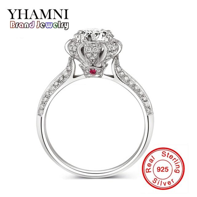 Promotion 100 Pure Silver Rings Set 1 Carat Sona Cz Diamond Wedding For