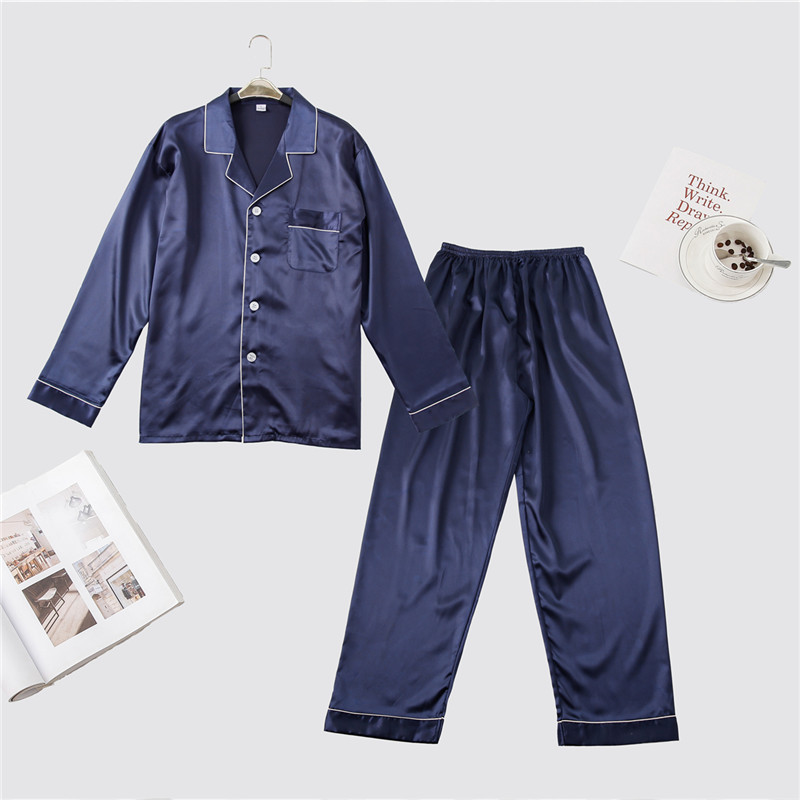 Navy Blue Men Casual Pajamas Set Spring Summer Long Sleeve 2PCS Sleepwear Rayon Pyjama Pijama Suit Male Home Clothes L XL XXL