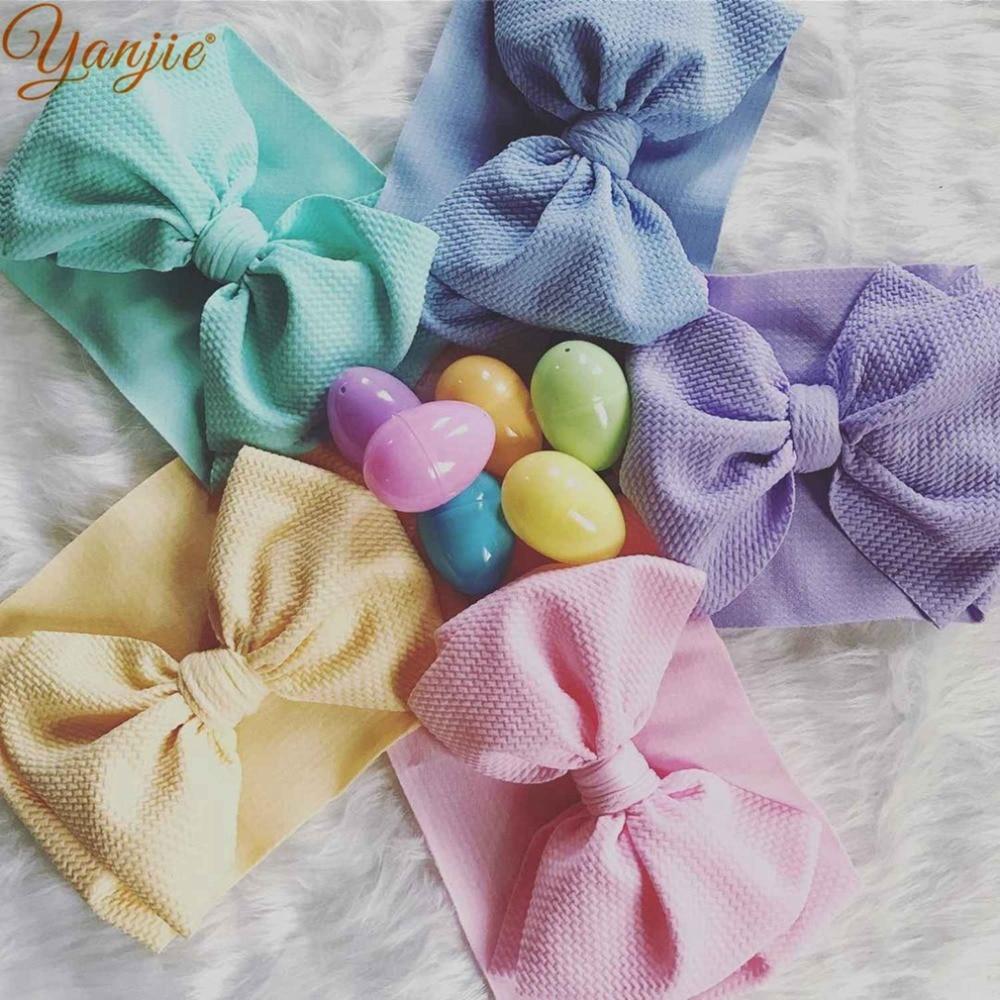 7'' Large Knot Bow Headband For Girls Winter Fashion Big Hair Bows Elastic Hair Band Kids Solid Turban Headwrap Hair Accessories
