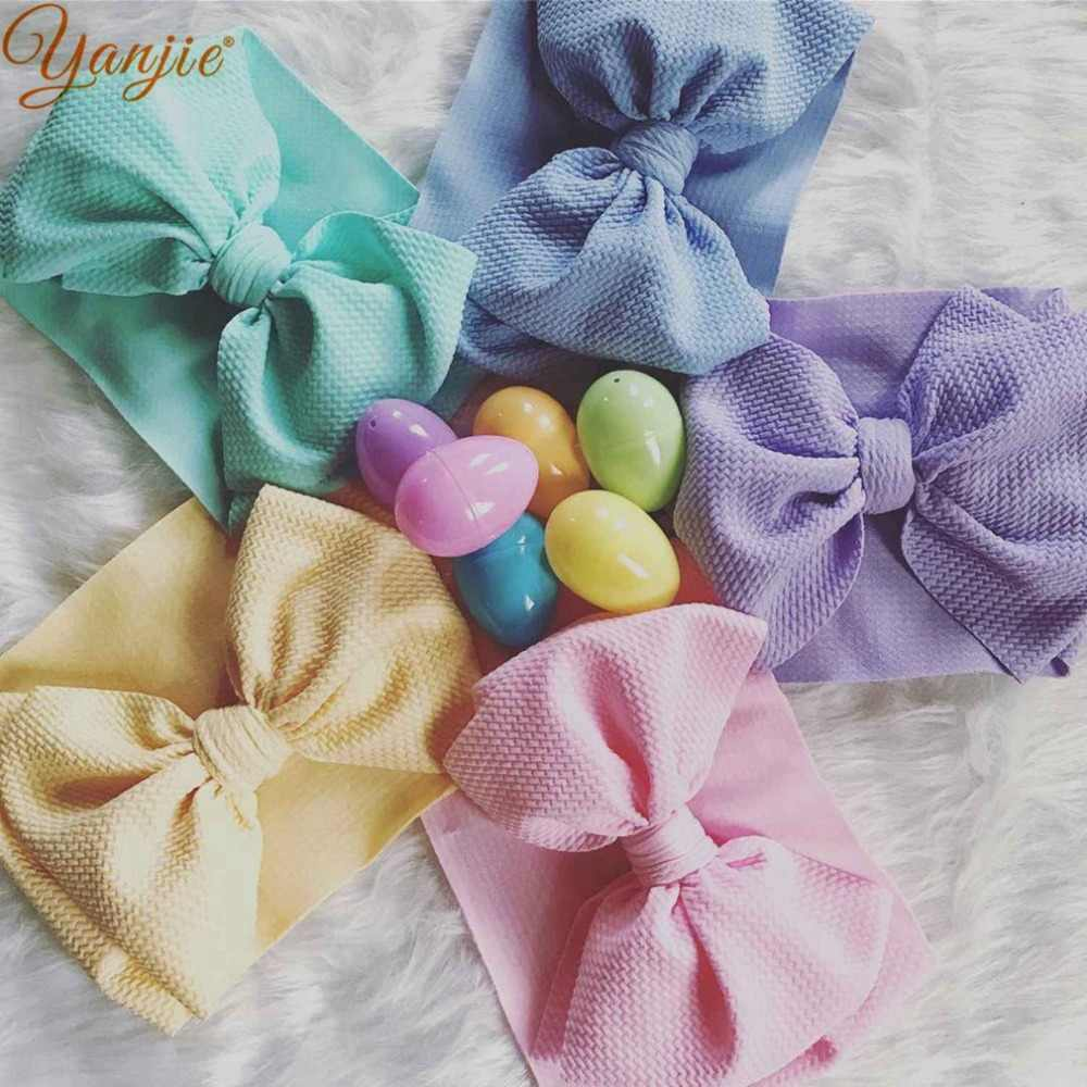 7'' Large Knot Bow Headband For Girls Winter Fashion Big Hair Bows Elastic Hair Band Kids Solid Turban Headwrap Hair Accessories