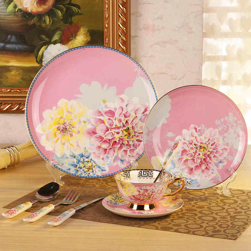 korean dinnerware set bone china tableware dishes and plates ceramic porcelain dinner sets in. Black Bedroom Furniture Sets. Home Design Ideas