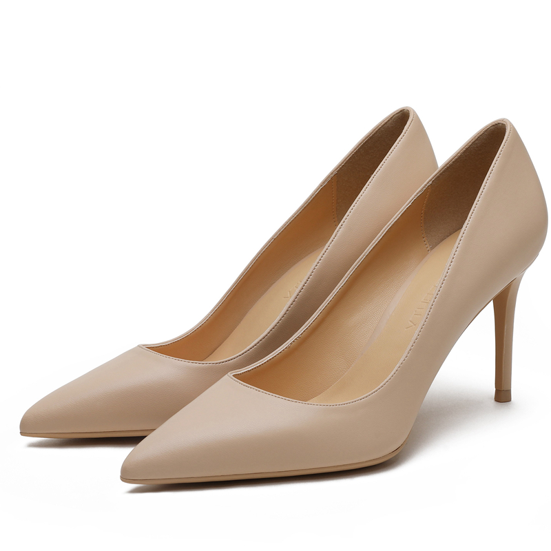 2019 New Spring Woman Pumps Handmade Genuine Leather Shoes Sexy Pointed Toe Mature Office Lady Elegant Shoes Pumps E0051