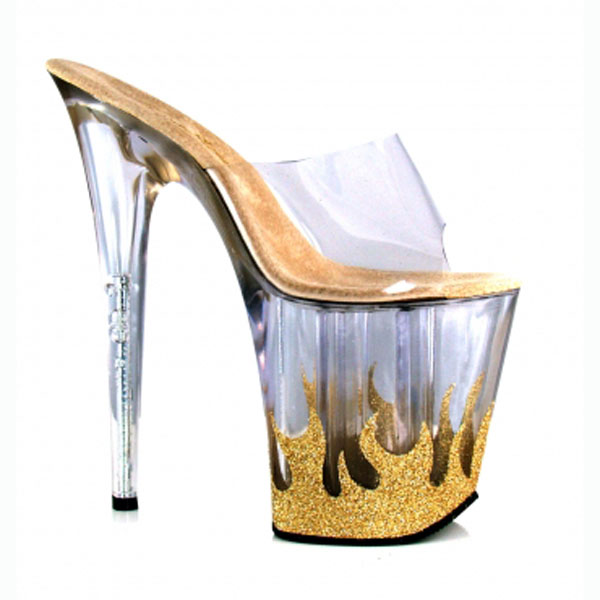 20cm High-Heeled Platform Sandals Flame Sexy Shoes Material 8 Inch High Heels 4 Inch Platforms Stripper Shoes 20cm high heeled shoes sexy shoes full transparent crystal bag sandals performance shoes 8 inch high heeled shoes