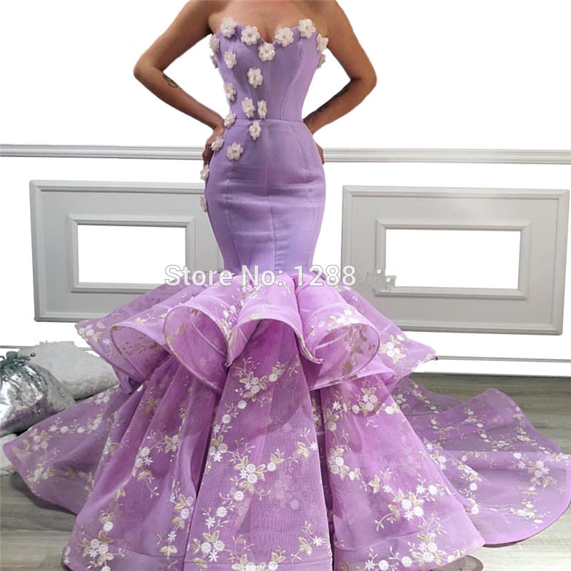 Lavender Muslim   Evening     Dresses   2019 Mermaid Sweetheart Tulle Flowers Long Islamic Dubai Saudi Arabic Long Formal   Evening   Gown