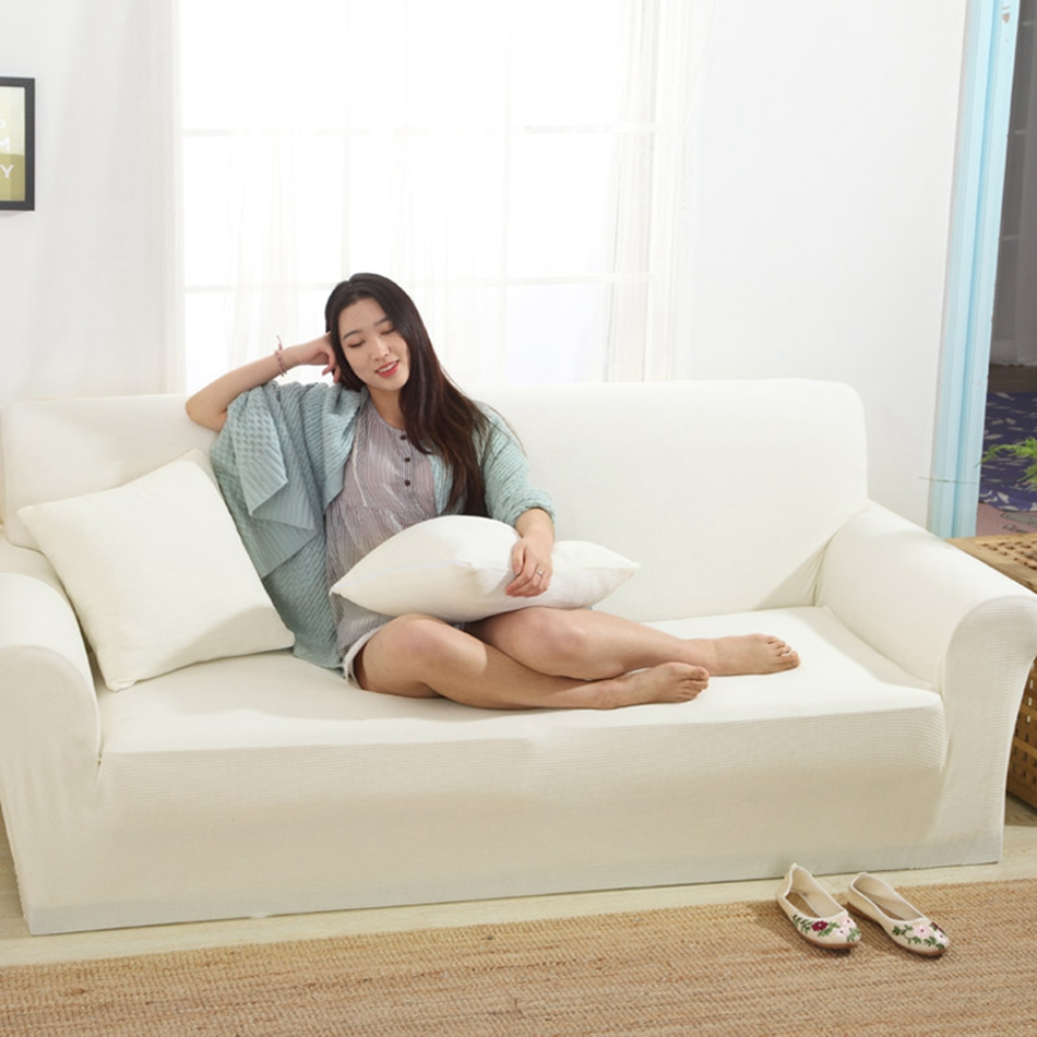 White Knitted Corner Sofa Covers For Living Room Multi Size Couch Sofa Slipcovers Solid Color