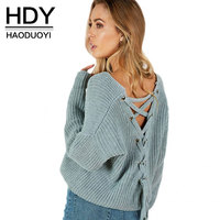 HDY Autumn Lace Up Sweater Women 2017 New Knitted Women Sweater Pullovers Solid Jumper Back Cross