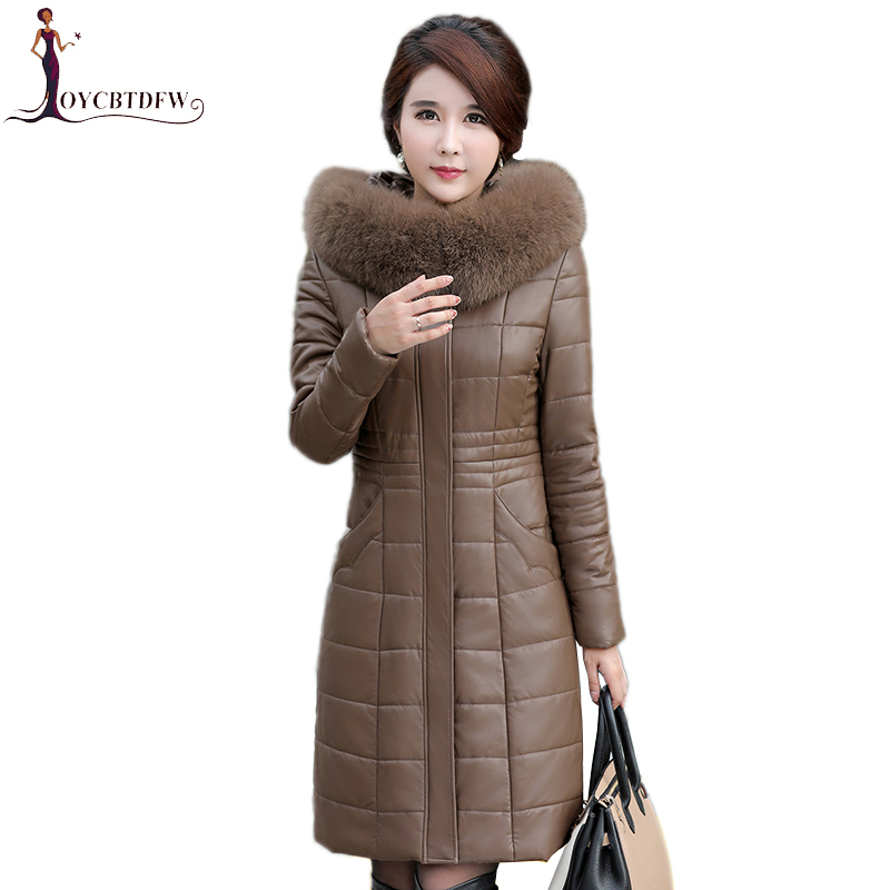 Large size 7XL Women Parka Winter Artificial   Leather   Jacket New Fashion Fur Collar Hooded Plus Cotton Outerwear Coat Female X431