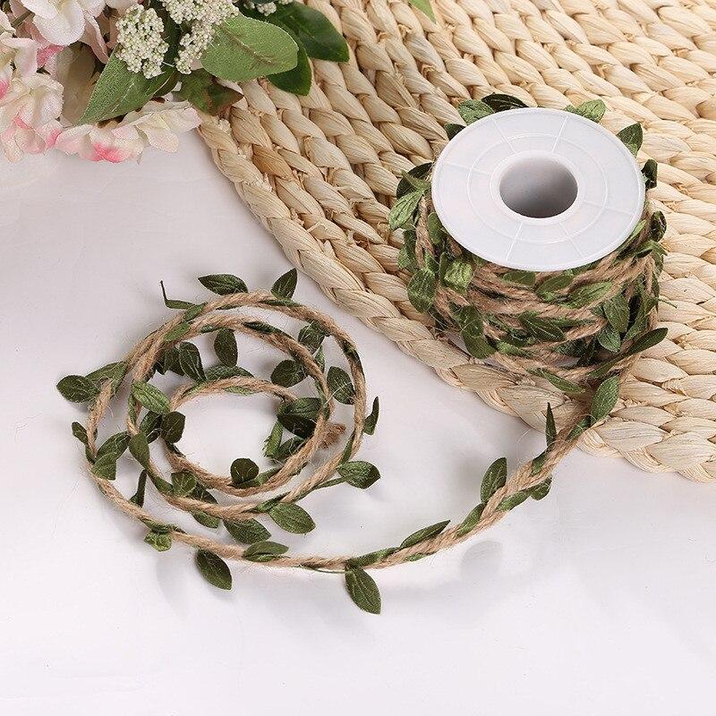2.09US $ 30% OFF 5 Meter Simulation Green Leaves Weaving Hemp Rope DIY Wedding Birthday Wedding Deco...