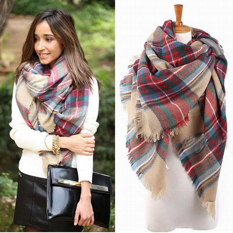 Women font b Tartan b font Check Blanket Wrap Poncho Cape Shawl Scarf Ladies Plaid Coat
