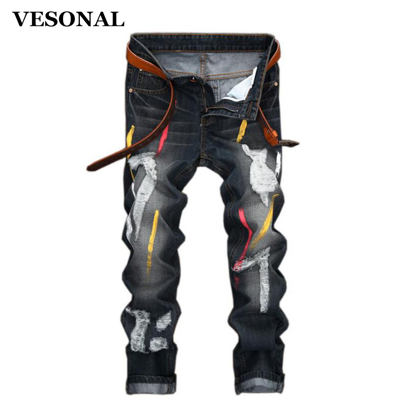 VESONAL 2017 Brand Graffiti Biker Hip Hop Swag Men Jeans Pants Fashion Casual Vintage Hole Slim Ripped Denim Mens Trousers VE123 2017 fashion patch jeans men slim straight denim jeans ripped trousers new famous brand biker jeans logo mens zipper jeans 604