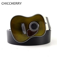 799c815c025 Mens Moda Preto PU Correias de Guitarra de Couro Fivela de Cinto de Cowboy  Ocidental Country