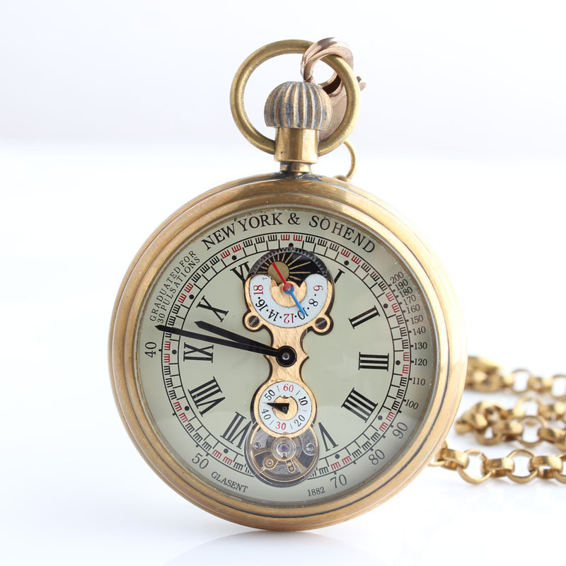 trade retro nostalgia mechanical pocket watch 4 pin moon and stars really classic copper all copper