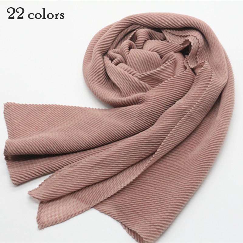 ladies plain 22 color wrinkle scarf shawl wrap raised grain drape muslim headband viscose autumn scarves