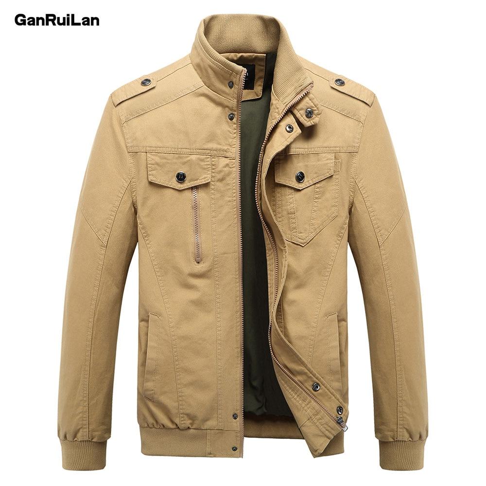 2018 New Casual Men's Jacket Spring Army Military Jacket Men Coats Winter Male Outerwear Autumn Overcoat Khaki M-6XL JK18011