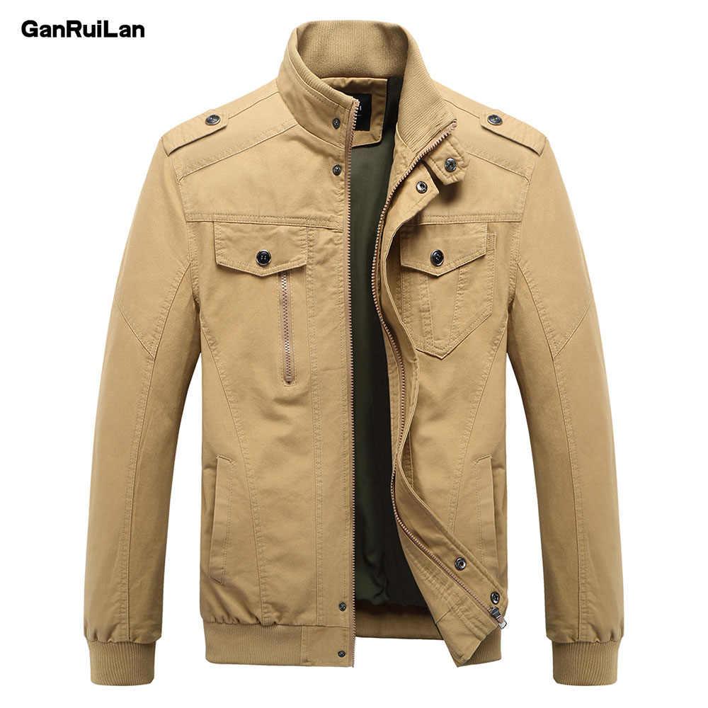 2019 nueva chaqueta Casual para hombre, chaqueta militar de primavera y ejército, abrigos de invierno para hombre, abrigo de otoño, de color caqui M-6XL JK18011