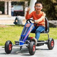 4 wheel kids go kart, pedal powered go kart with rubber wheel, 10inch inflatable wheel go kart with steel frame and hand brake