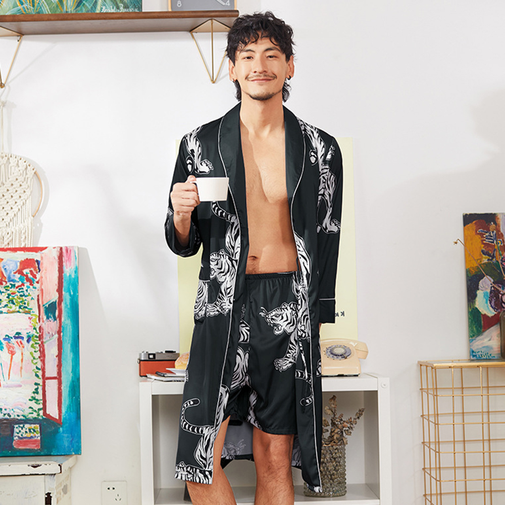 Print  Twinset Robe Set  Kimono Bathrobe Gown Lounge Men 2pcs Home Wear Night Dress Casual Satin Intimate Lingerie Sleepwear