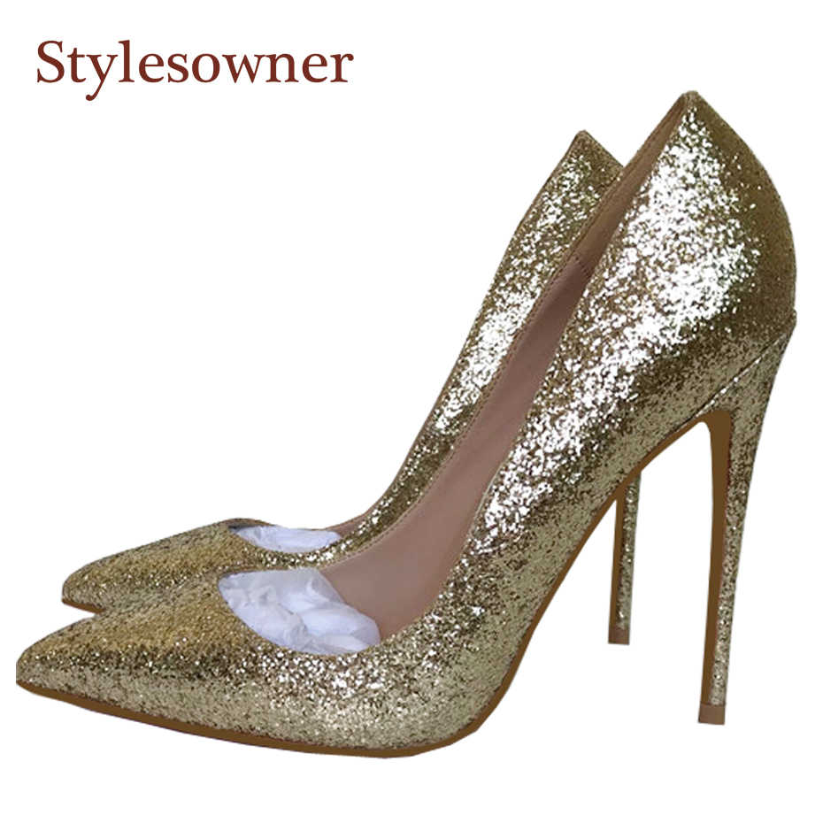 Stylesowner Lady Wedding Shoe Super Thin High Heeled Light Gold Sequined  Cloth Glitter Shallow Mouth Slip d5eed722b170