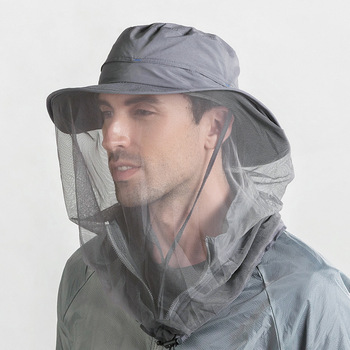 Outdoor 360 Mosquito-proof Hat Fishing Umbrella Hat Sun Protection with Mosquit Net for Men Women Hiking Camping Caps Breathable