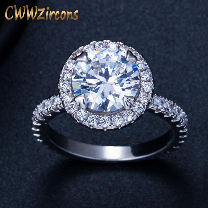433bab9d7df2 CWWZircons precioso gran Halo Anillos De Compromiso joyería de Color  plateado redondo de moda Zirconia cúbica Sona anillo de boda para mujer R108