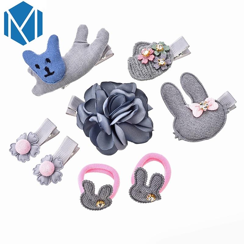 M MISM 1Set=6-8PCS Girls Ribbon Bowknot Flower Elastic Hair Rubber Bands Clips Rabbit Star Love Cute Gum Hair Ties Accessories