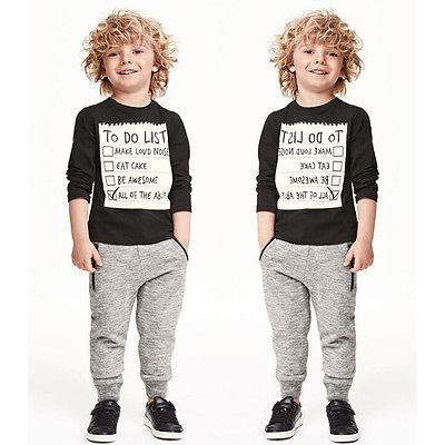 US $9 45 |1set Baby Kids Boys Cotton Shirt List Sweater + Elastic Waist  Pants Fashion Children Letter TO DO LIST Printed Clothing Outfits-in  Clothing