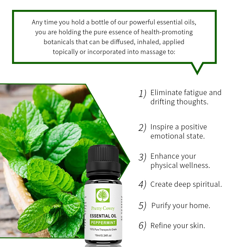 Pretty Cowry Peppermint Essential Oils 100% Pure Natural 10ml Organic Body Relieve Stress Oil Skin Care Help Sleep massage oil 2