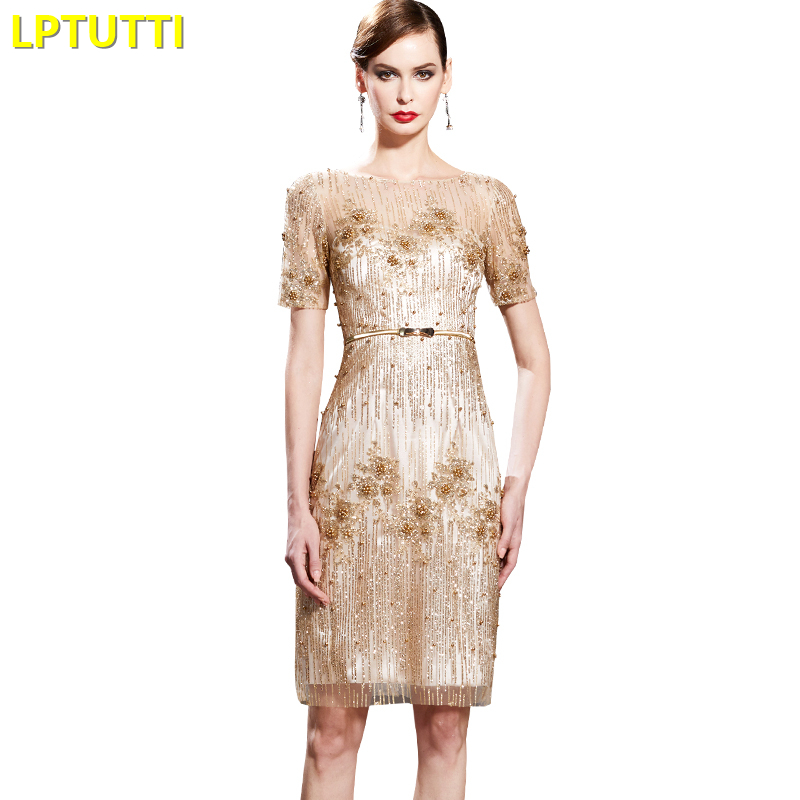 LPTUTTI Sequin Crystal New Sexy Woman Social Festive Elegant Formal Prom Party Gowns Fancy Short Luxury   Cocktail     Dresses